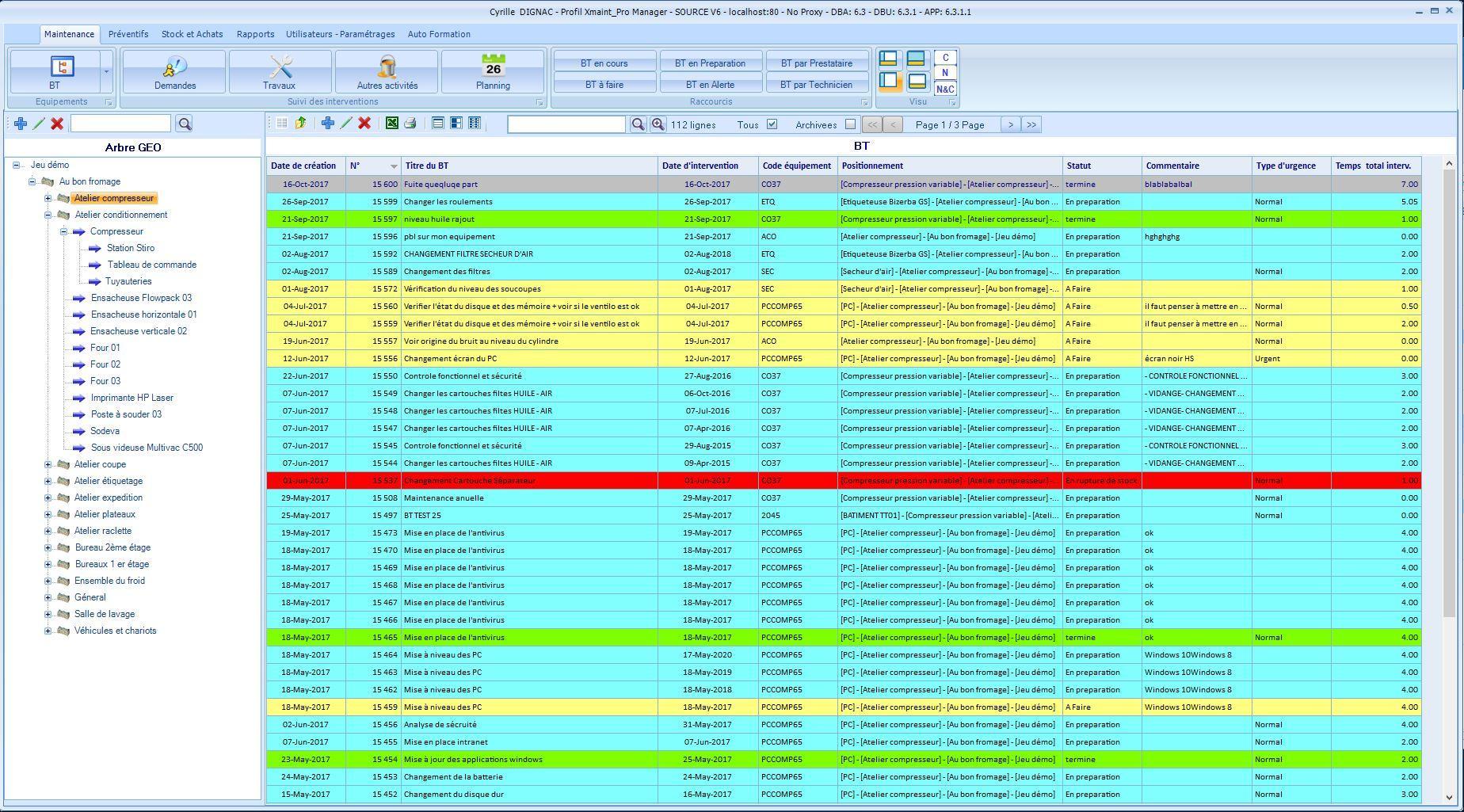 Arborescence des équipements et liste de travaux par statut