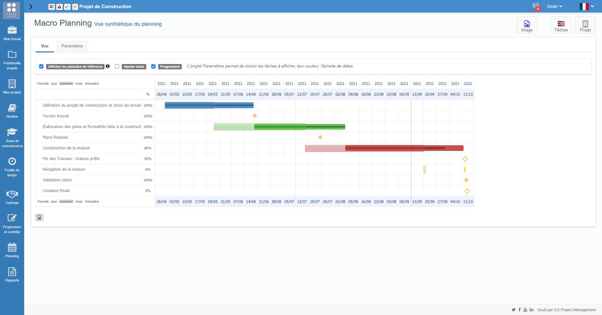 Le Macro Planning vous offre une vue plus synthétique que le GANTT. Idéal pour une communication plus visuelle et claire.