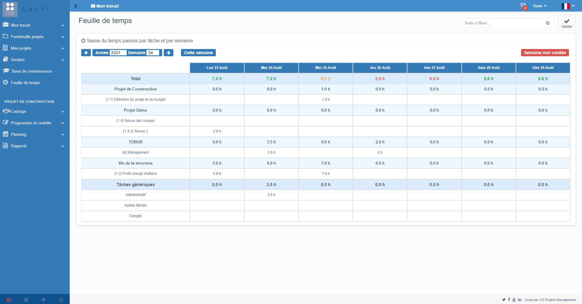 Chaque utilisateur dispose d'une feuille de temps dans laquelle il peut reporter les heures qu'il a passé sur ses tâches projets et sur des tâches génériques hors projets (ex : administratif, congés...)