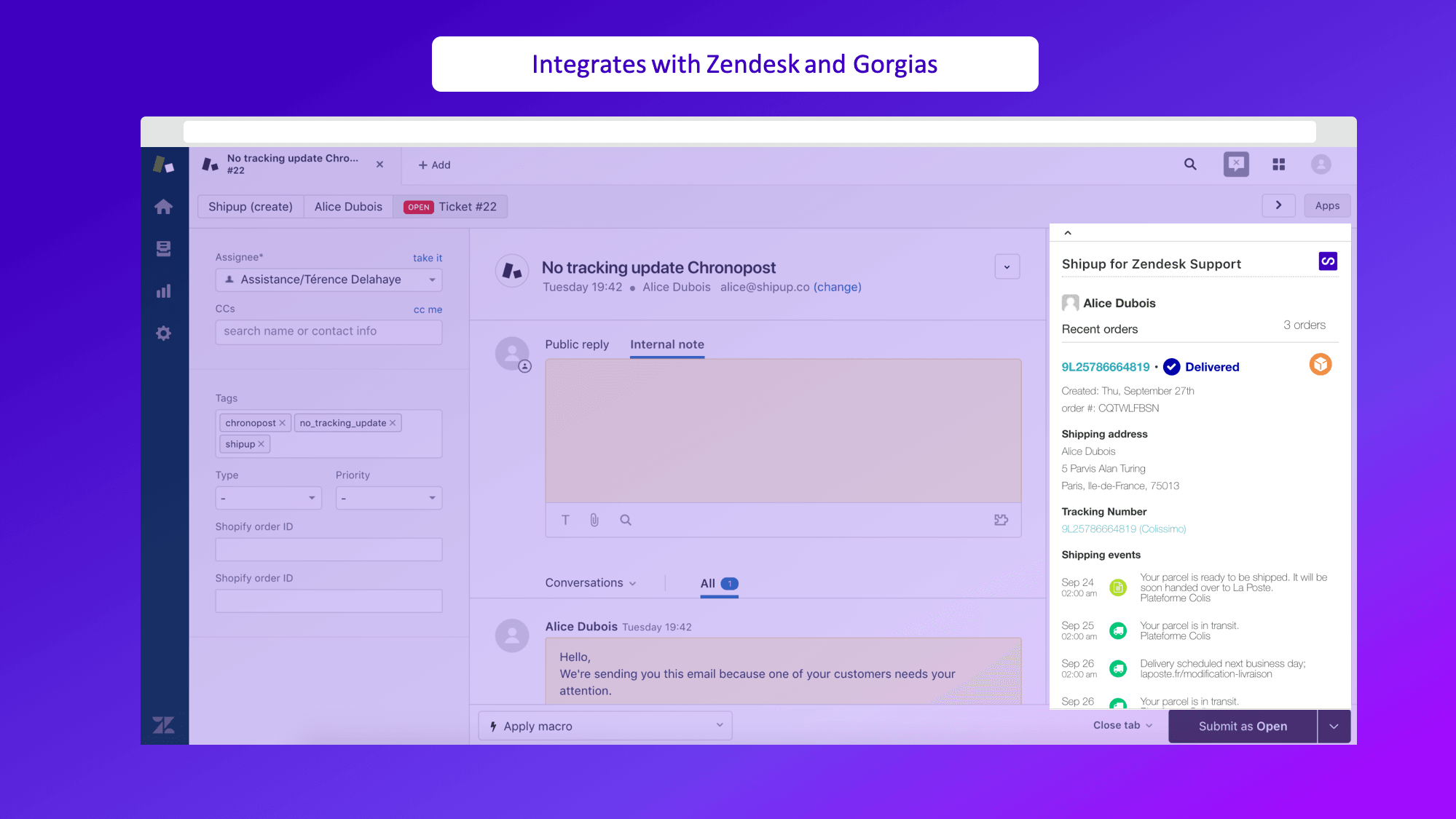 Intégration avec Zendesk