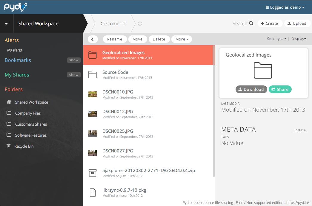 Pydio: Application mobile, Réversibilité totale des données, Documents partagés