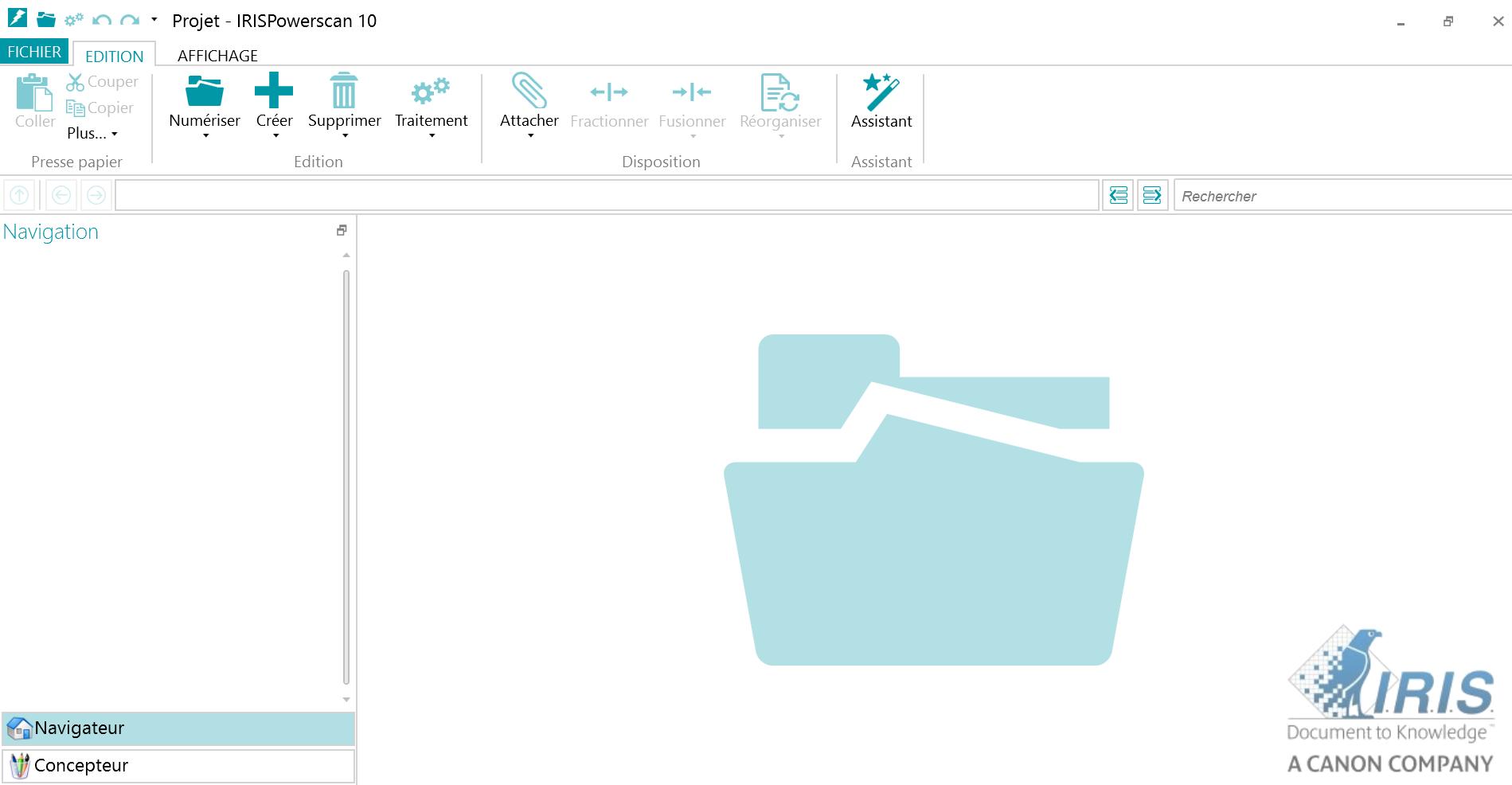 """IRISPowerscan : Vue de l'interface """"Navigateur"""" d'IRISPowerscan.  C'est dans cette interface que les documents importés sont traités."""