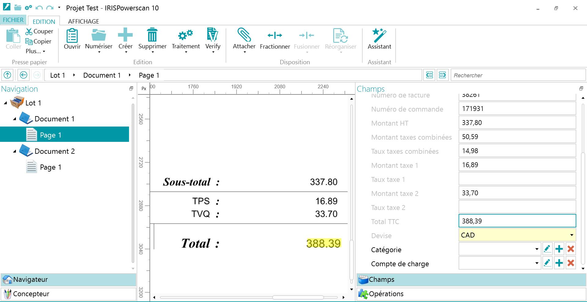 IRISPowerscan : Dématérialisation de facture. Les données du document sont extraites et apparaissent dans les champs de la colonne de droite.