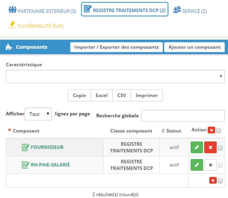 Les traitements DCP sont présents dans le référentiel qui constitue de fait le registre des traitements
