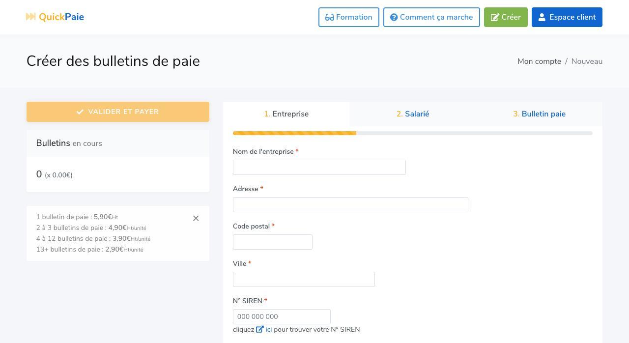 Créer un bulletin de paie en ligne
