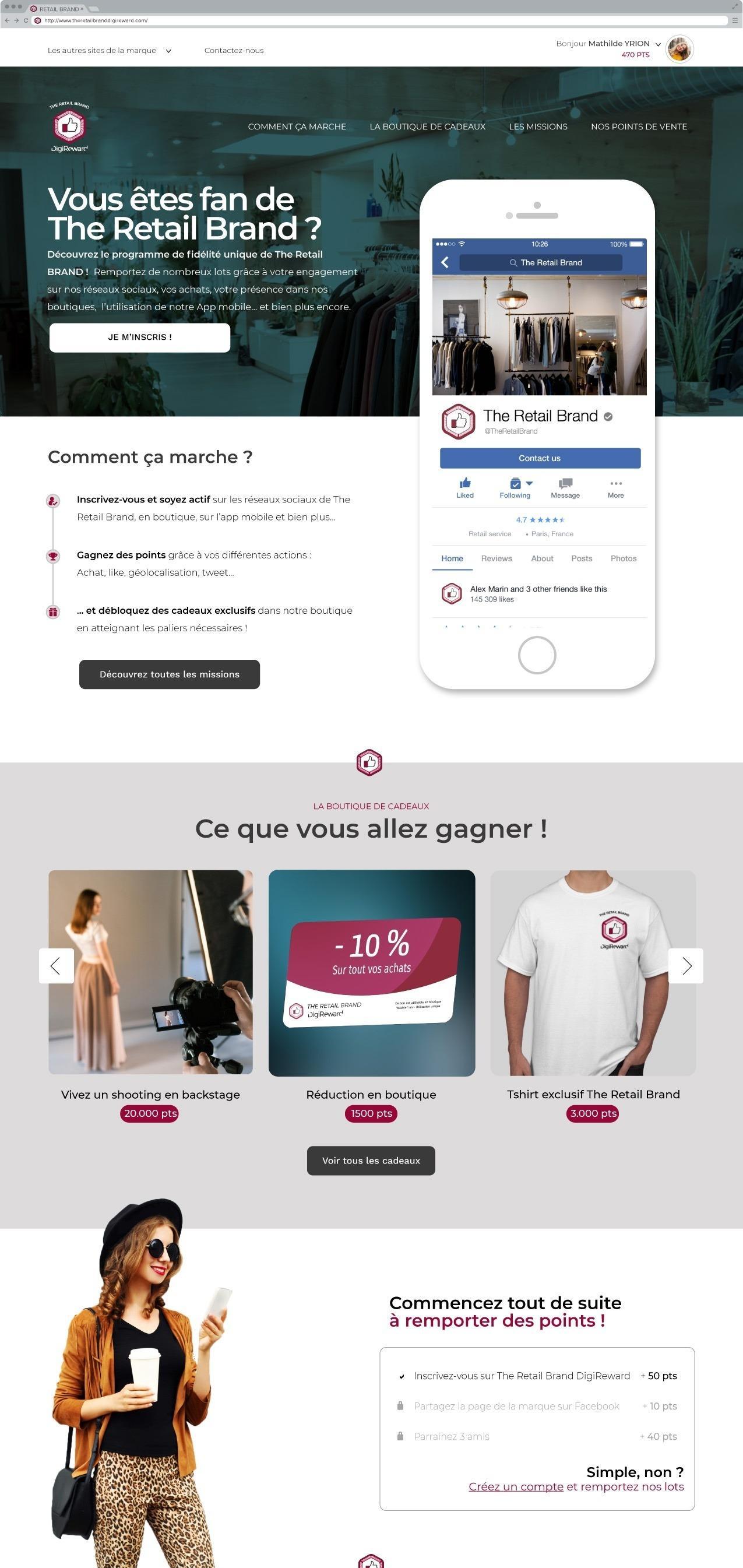 Maquette de la page d'accueil utilisateur pour le secteur du retail.