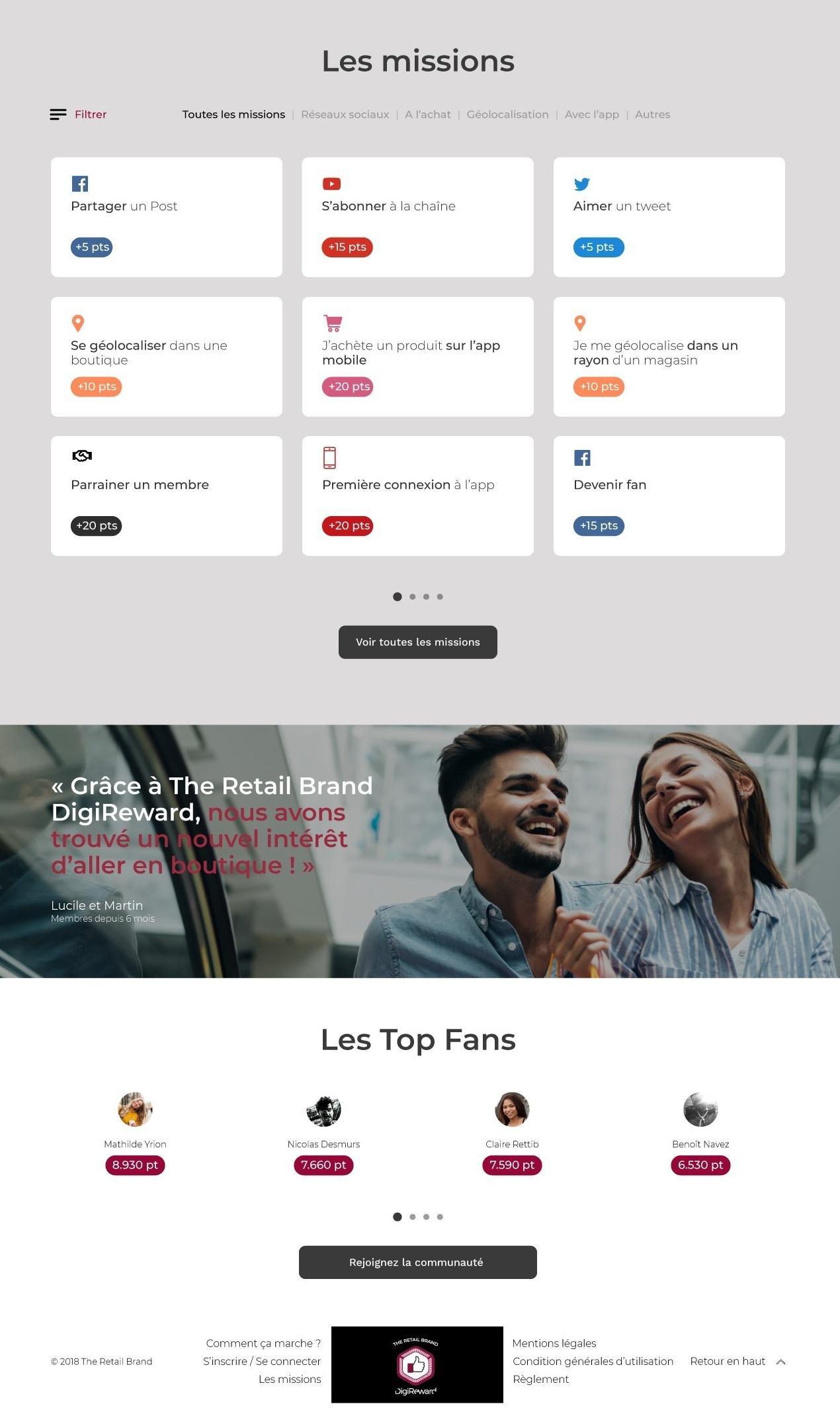 Maquette de la page utilisateur pour le secteur du retail. Exemple de missions récompensables.
