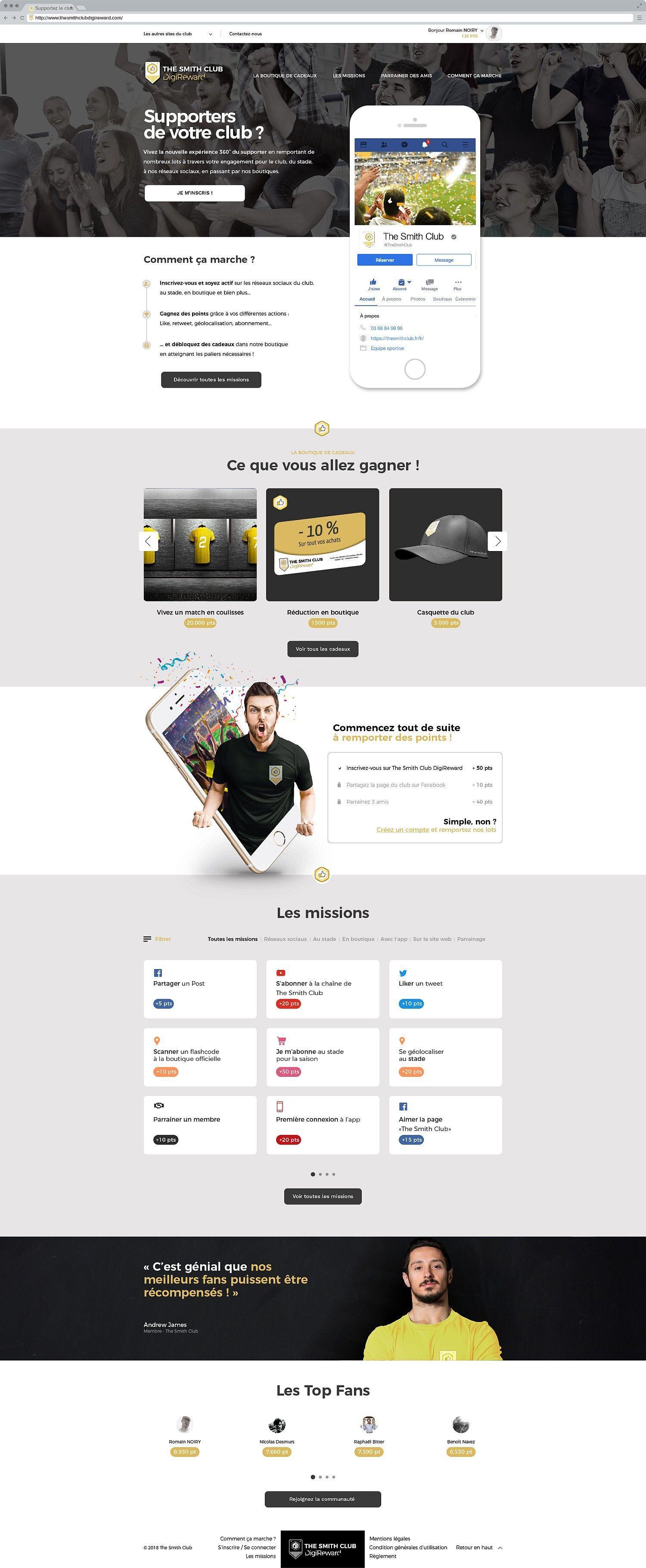 Maquette de la page d'accueil du programme DigiReward pour les fans d'un club sportif.