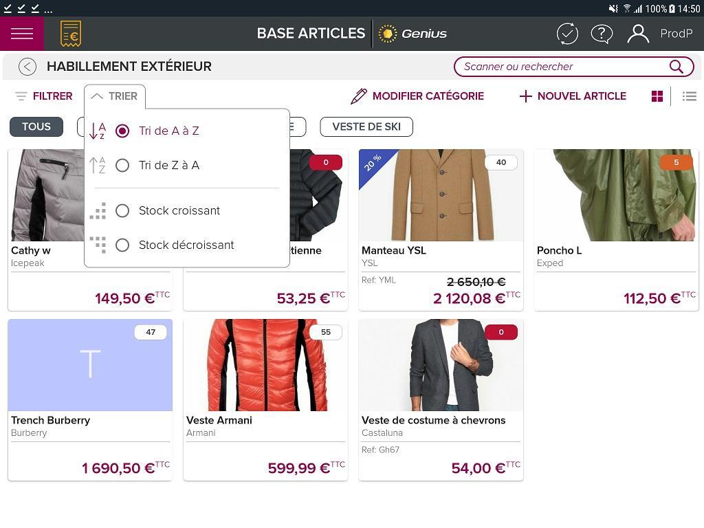 Ecran présentant votre catalogue digitalisé. Vous pouvez ajouter, supprimer ou modifier vos catégories et articles très simplement