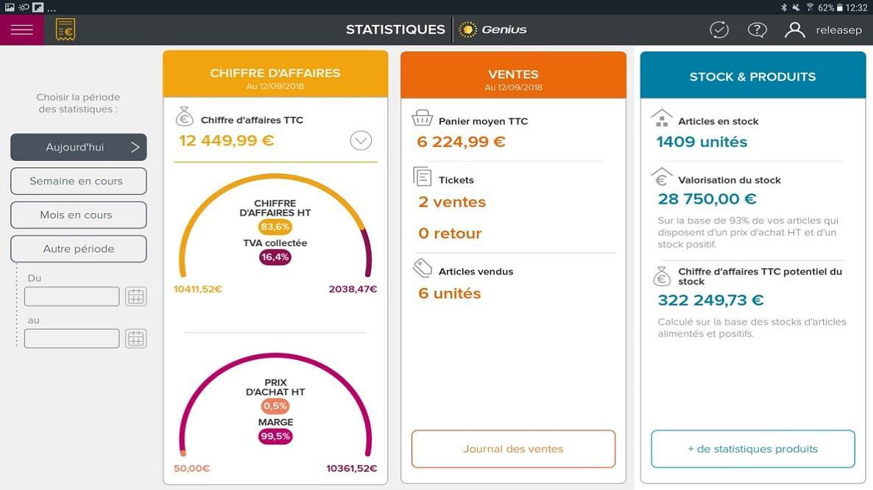 Écran consolidant vos statistiques. Cet écran est personnalisable à la période de votre choix.
