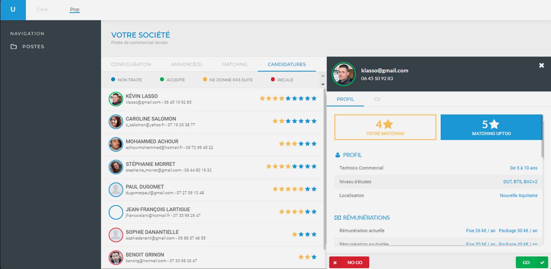 En 1 coup d'oeil, vous repérez les profils les plus intéressants. En 1 clic, vous prenez rendez-vous avec eux.
