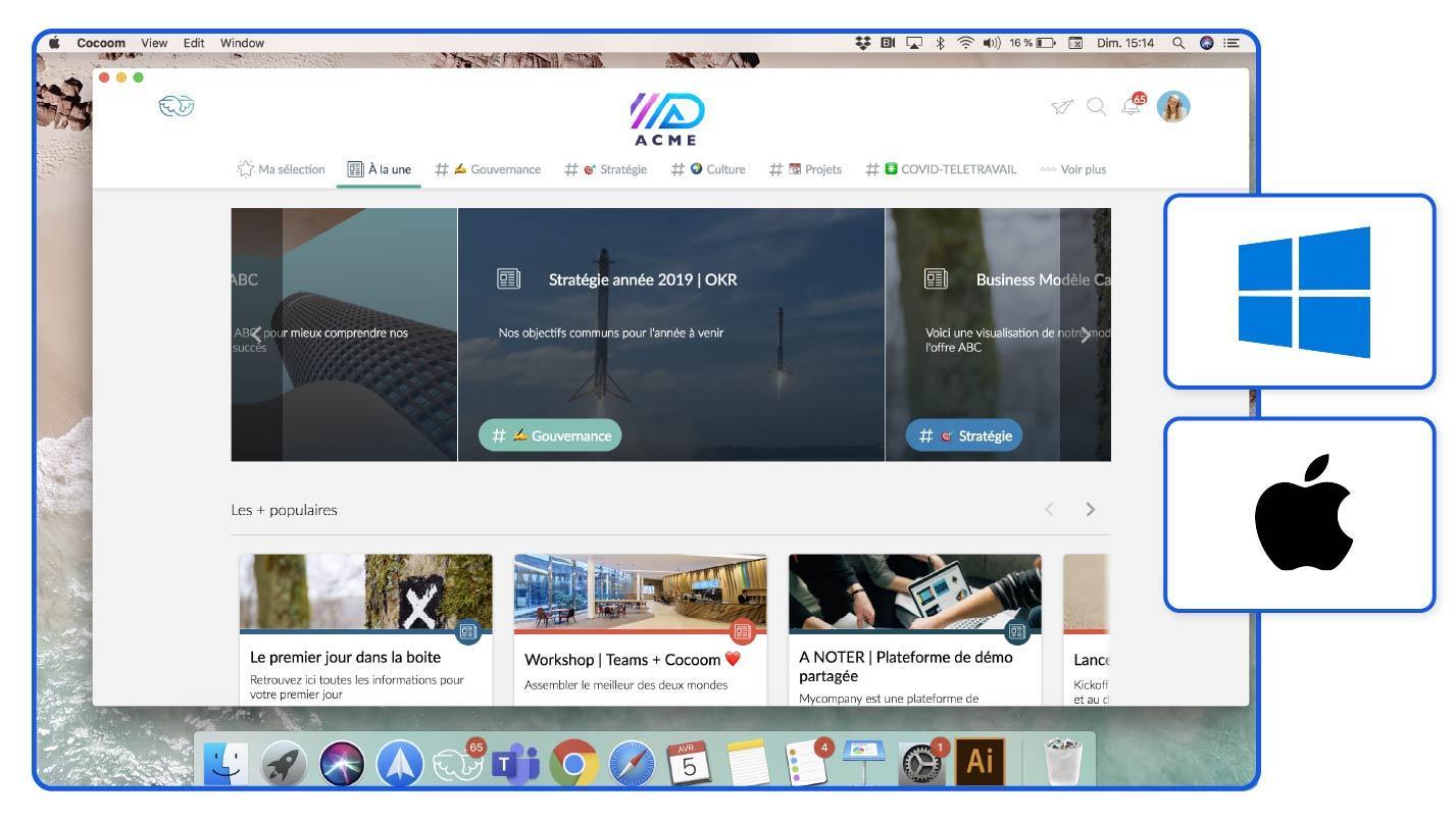 Application Cocoom web disponible sur PC et Mac