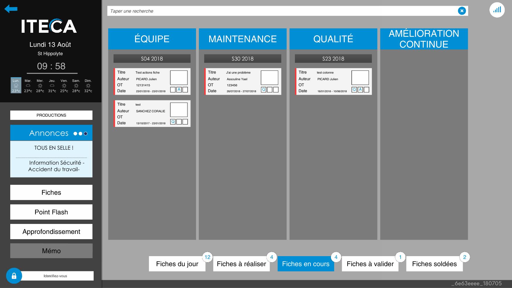 Le tableau de fiche liste les dysfonctionnements identifiés par vos équipes pour suivre les plans d'actions qui permettront leur résolution