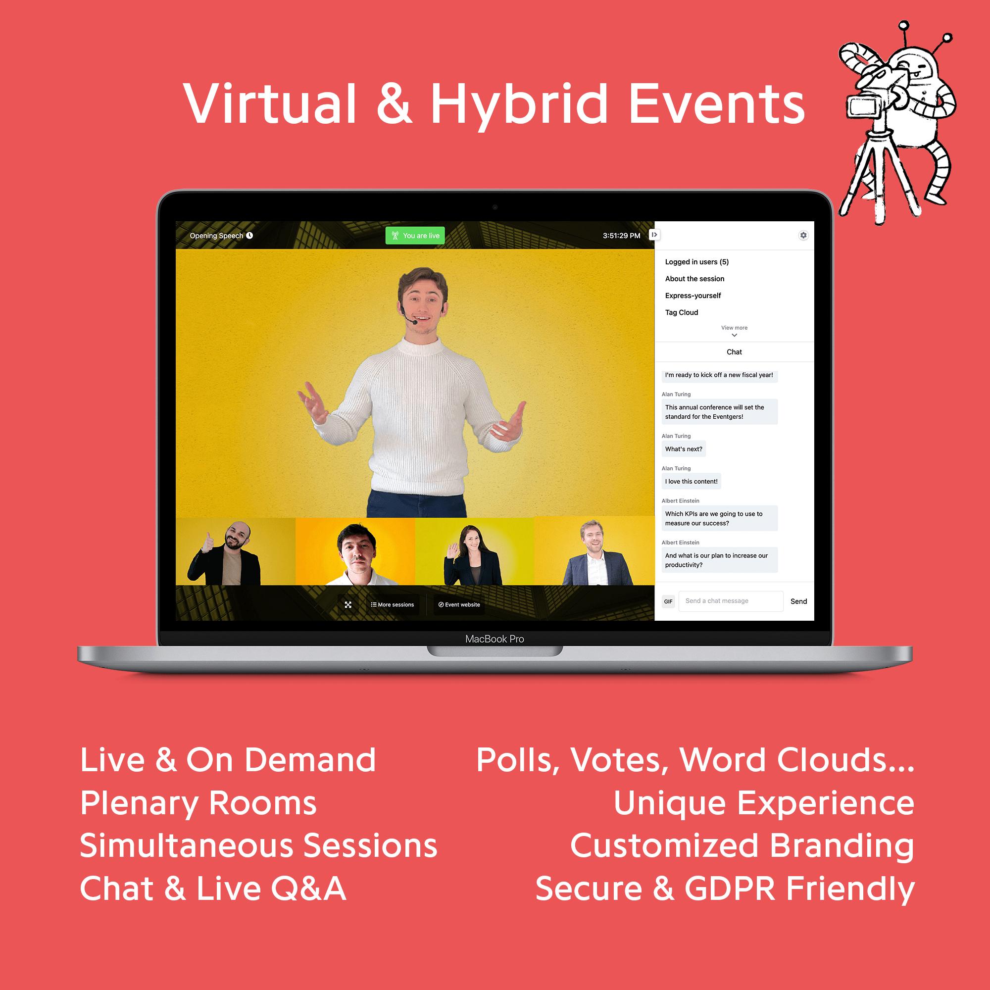 Des événements hybrides et virtuels selon vos besoins