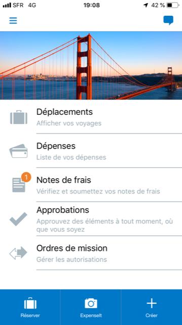 Concur Mobile - Ecran d'accueil