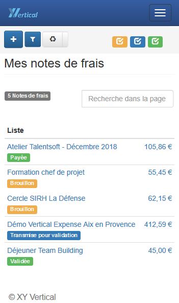 Vertical Expense : Liste des notes de frais sur Smartphone. Écran intuitif avec recherche dans la page et visualisation des montants à recevoir.