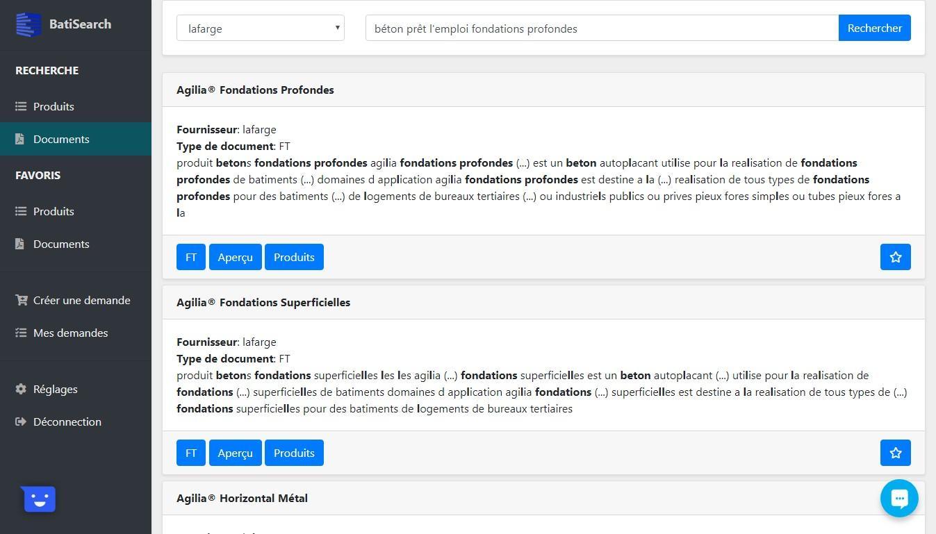 Recherche de Document dans BatiSearch