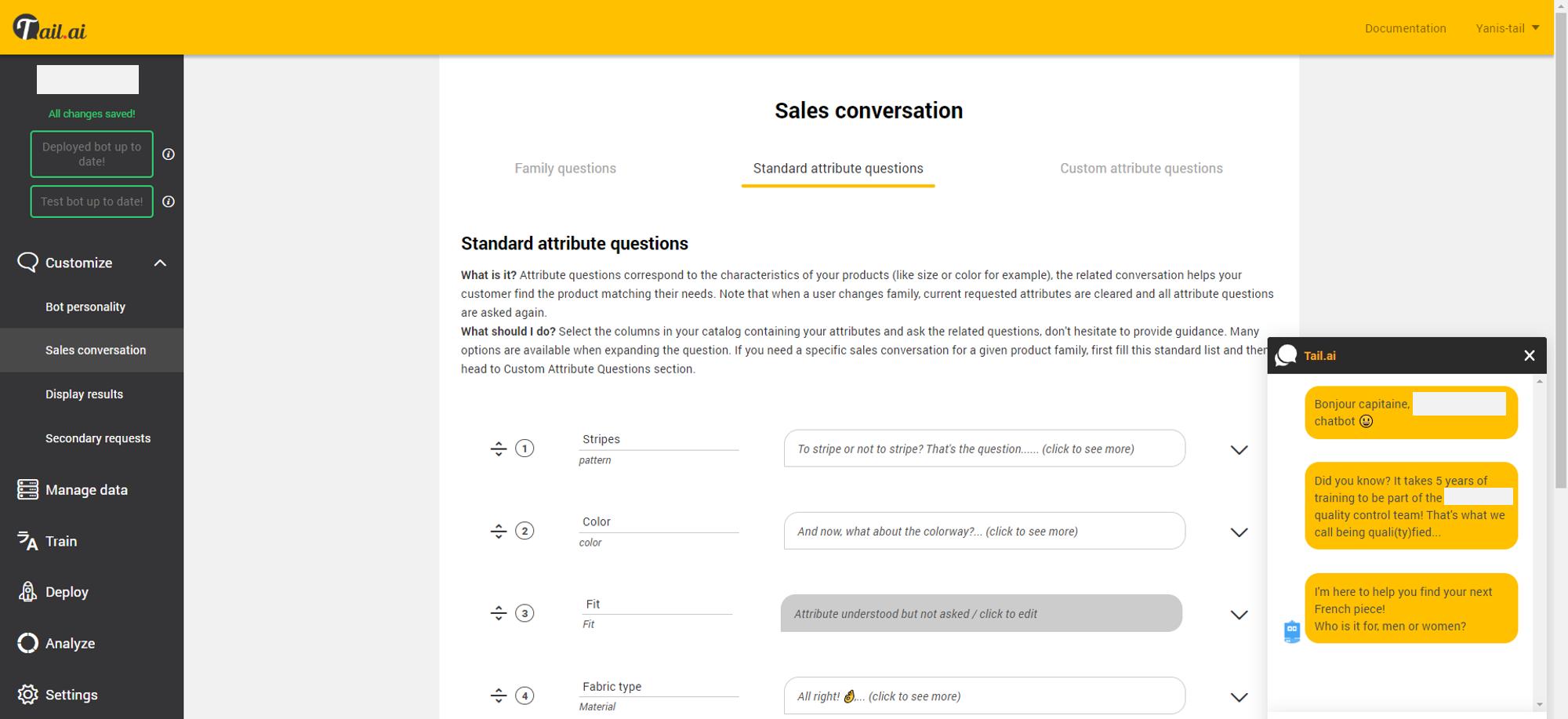 Configurer ses scénarios de vente, à partir des colonnes du catalogue produit