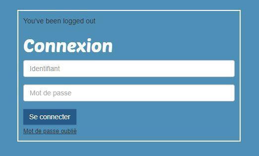 Page de connexion sécurisé.