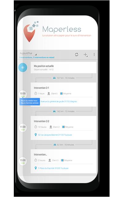 Maperless vous permet de gérer et d'organiser le planning des interventions de vos salariés
