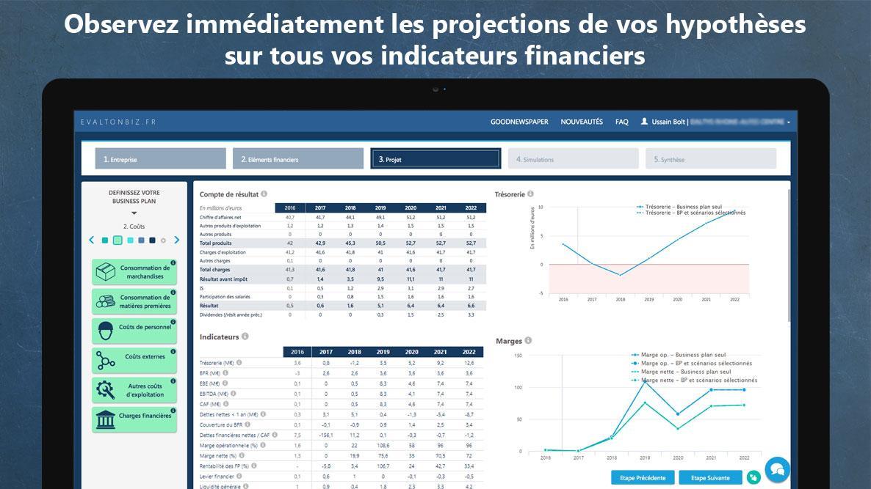 Projections financières instantanées