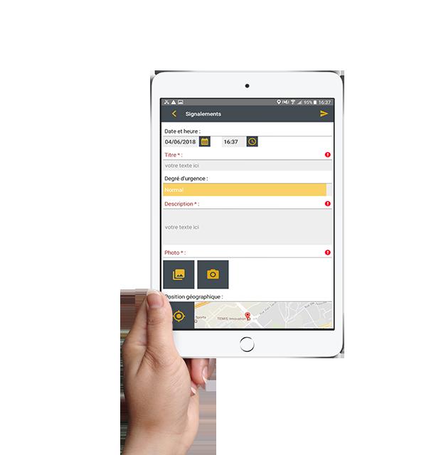 Formulaire numérique disponible sur tablettes et smartphones, même hors connexion.