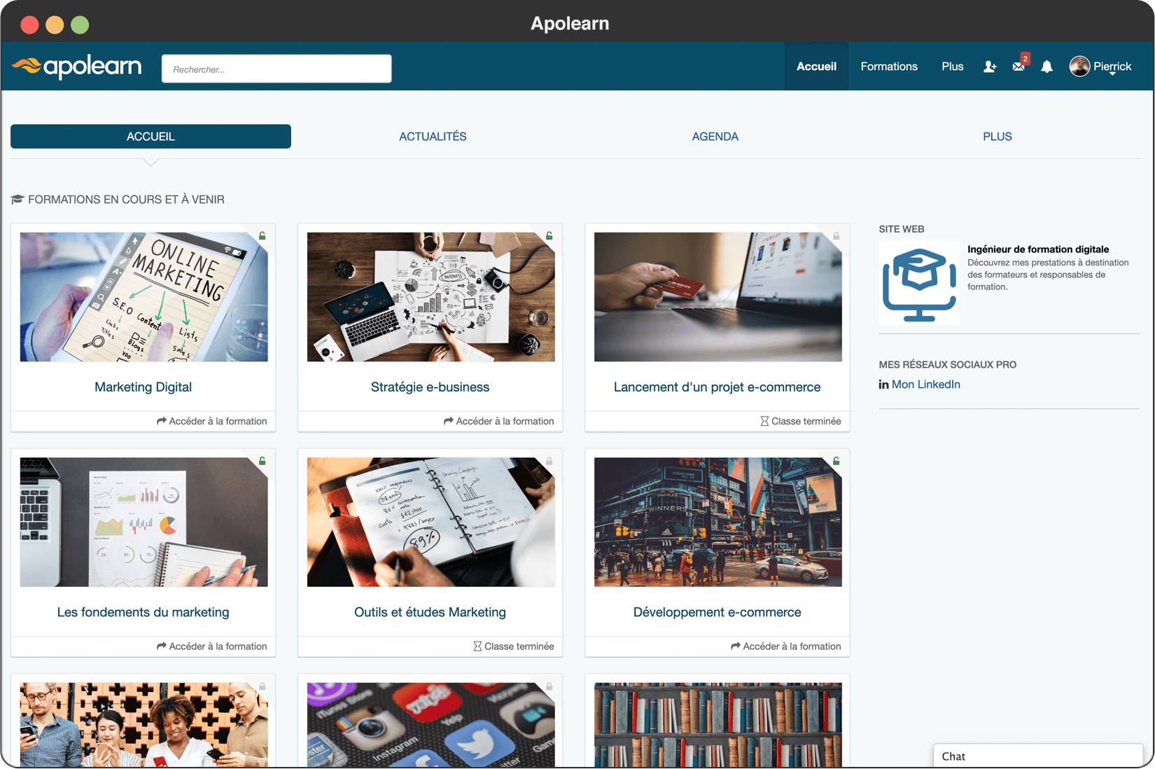 Page d'accueil d'Apolearn