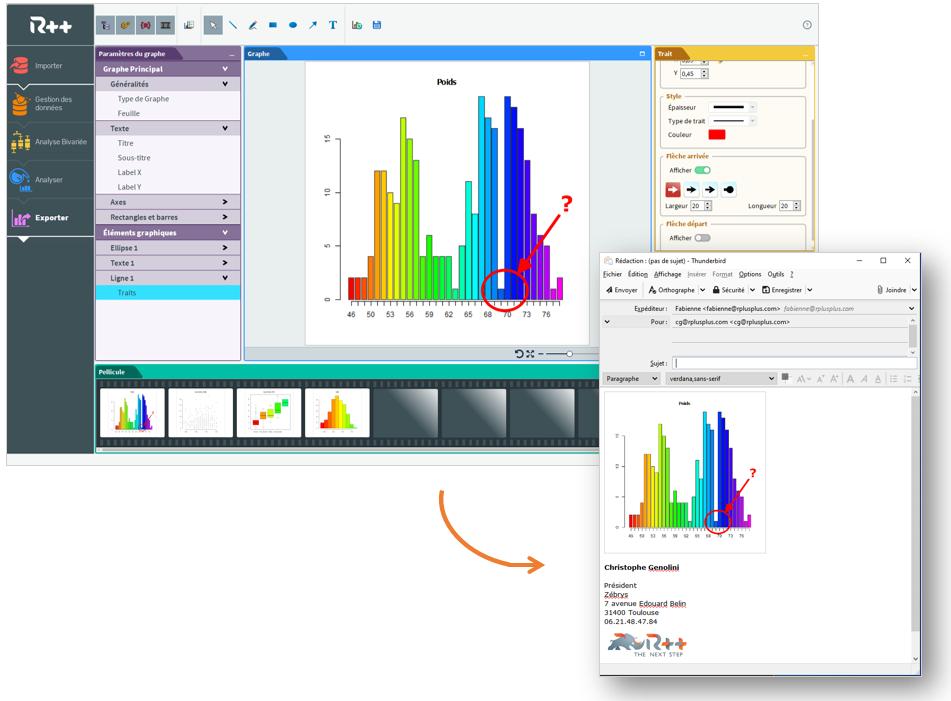 Quand votre graphe est finalisé sur R++, vous l'exportez grâce au Drag&Drop.