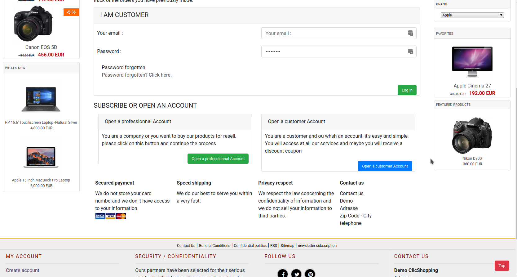 create account  demo.clicshopping.org