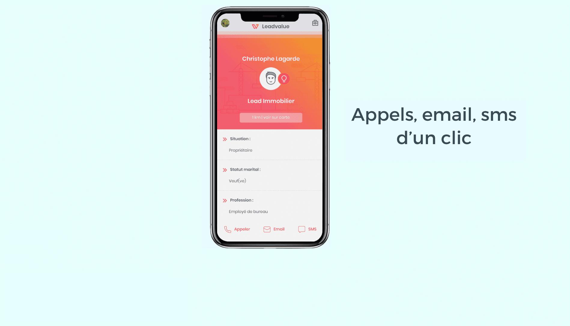 Appels emails SMS d'un clic en mode swipe