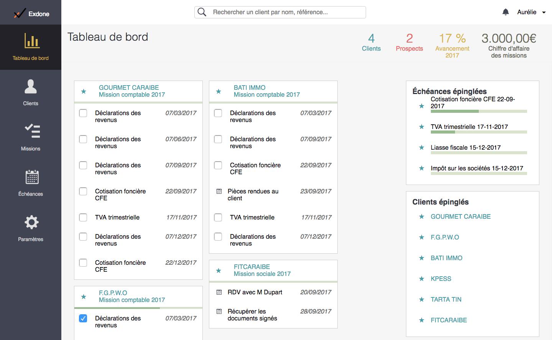 Le dashboard, pour une vision d'ensemble des échéances à venir par dossier de mission mises en favoris.