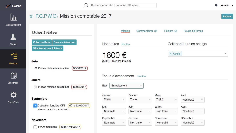 La page de mission vous permet de faire un suivi détaillé, avec les collaborateurs concernés.