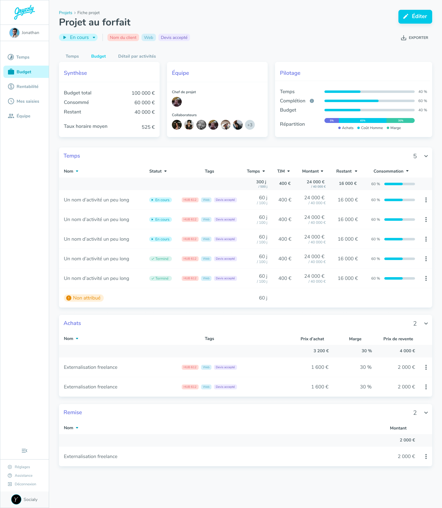 Gryzzly-project-sheet-budget
