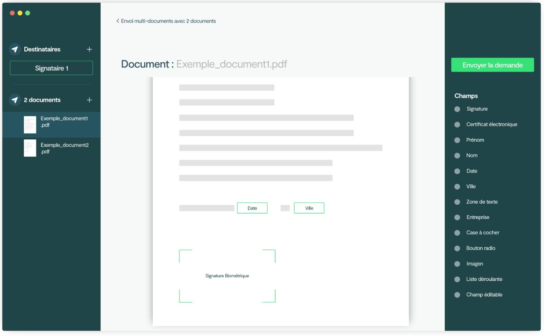 Configuration d'un document à signer