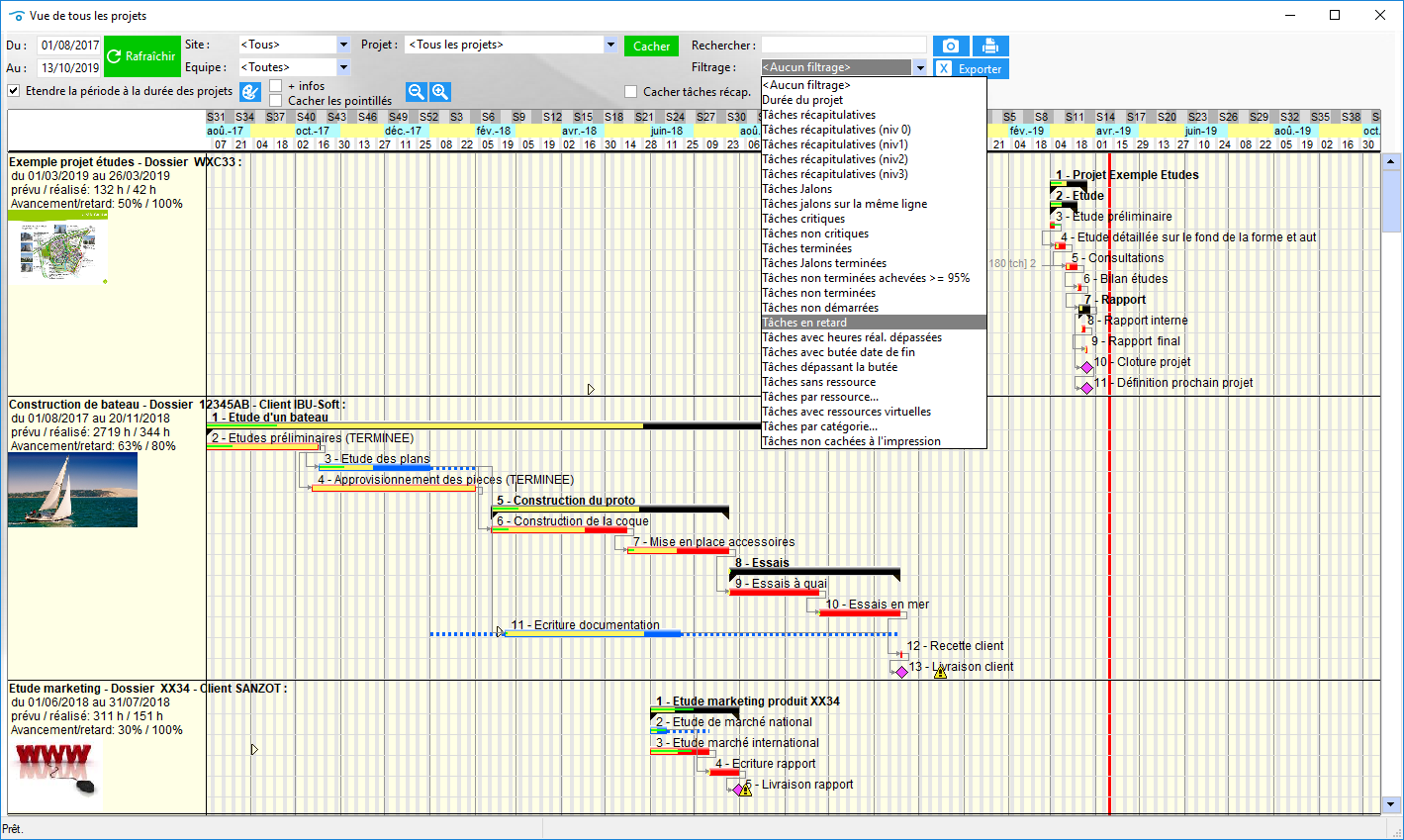 Vue Gantt multi-projets, avec filtrages puissants : jalons, tâches en retard, tâches par ressources, etc...