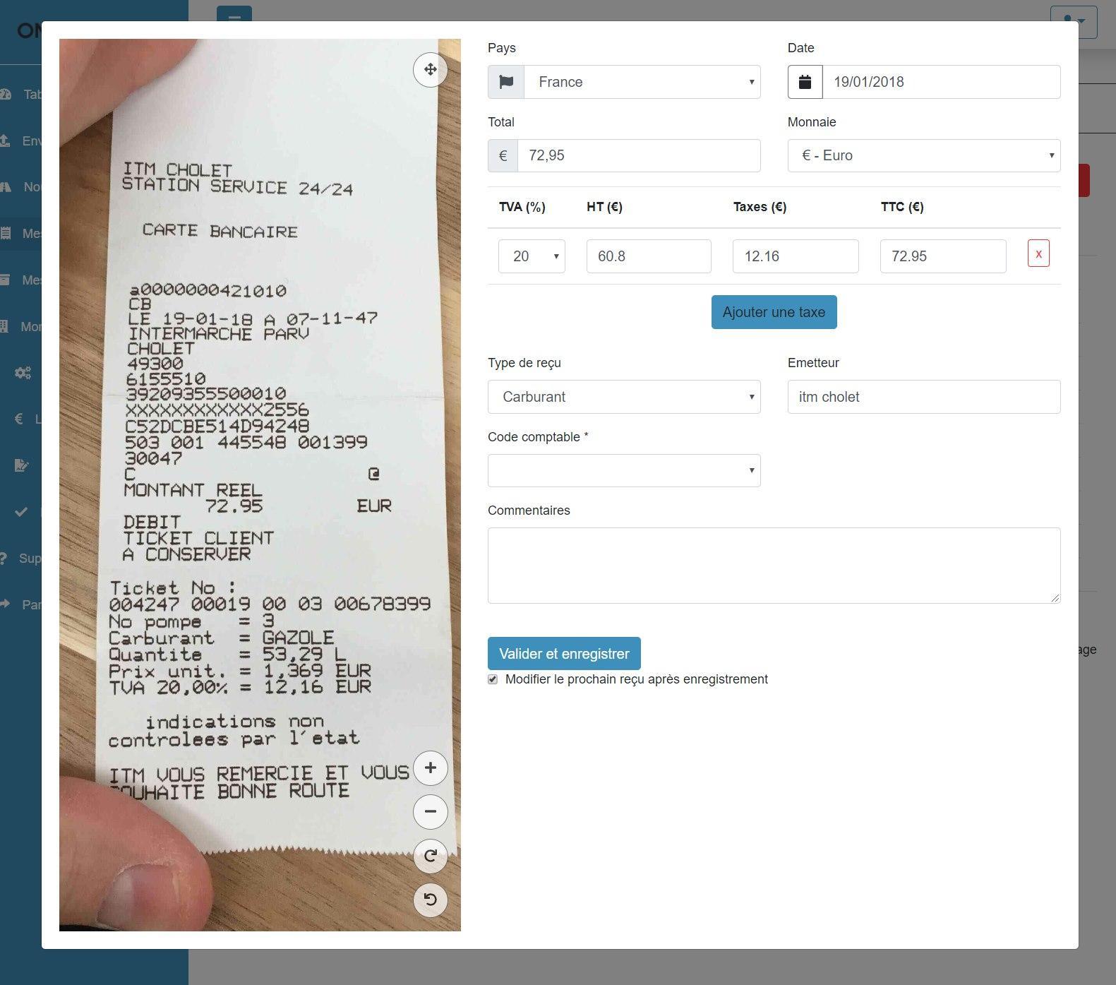 Modification simple de vos reçus