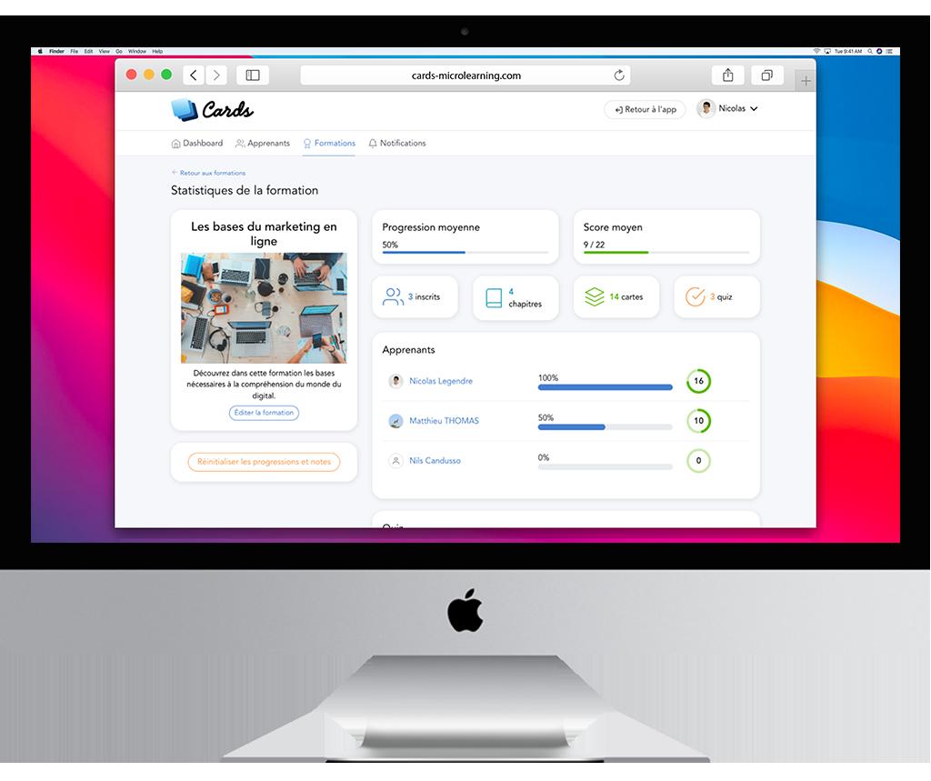 LMS dédié au micro-learning : une interface d'administration simple, disponible sur le web (en ligne) et sa version PWA pour Mac et PC.
