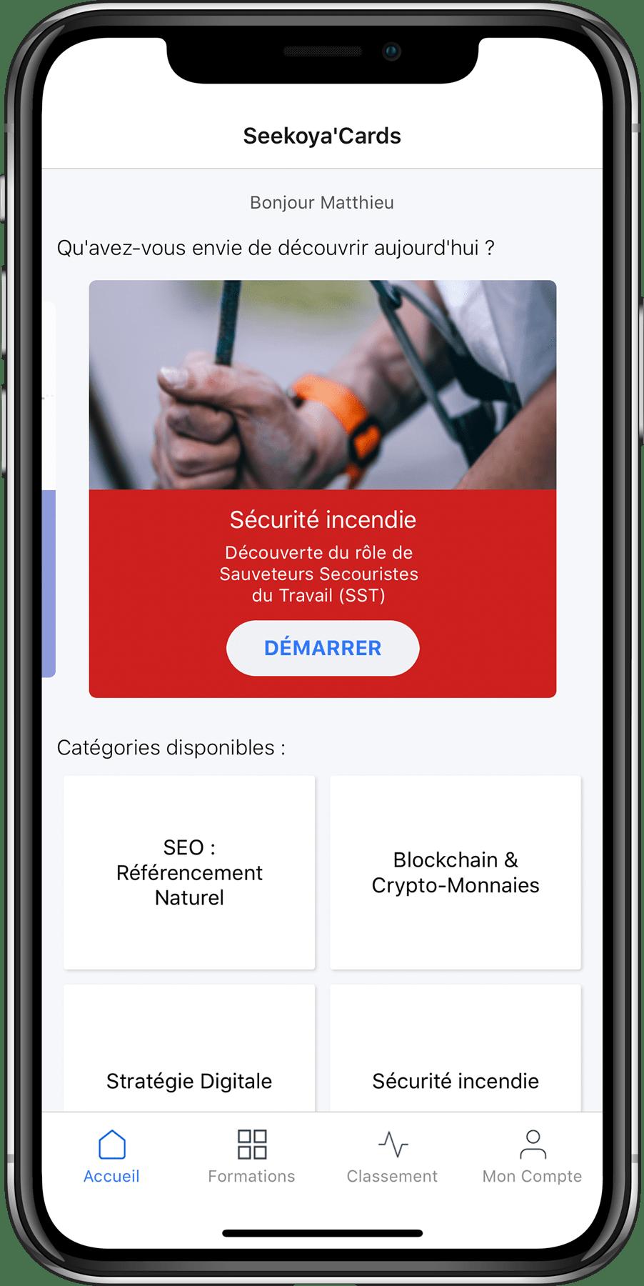 Ecran d'accueil de l'application mobile, avec vos modules de formations et les catégories créées.