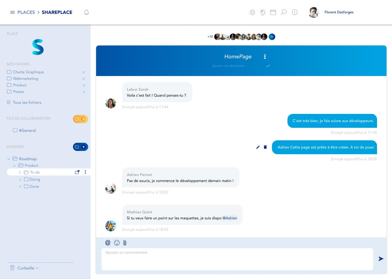 Fil de collaboration - messagerie instantanée SharePlace