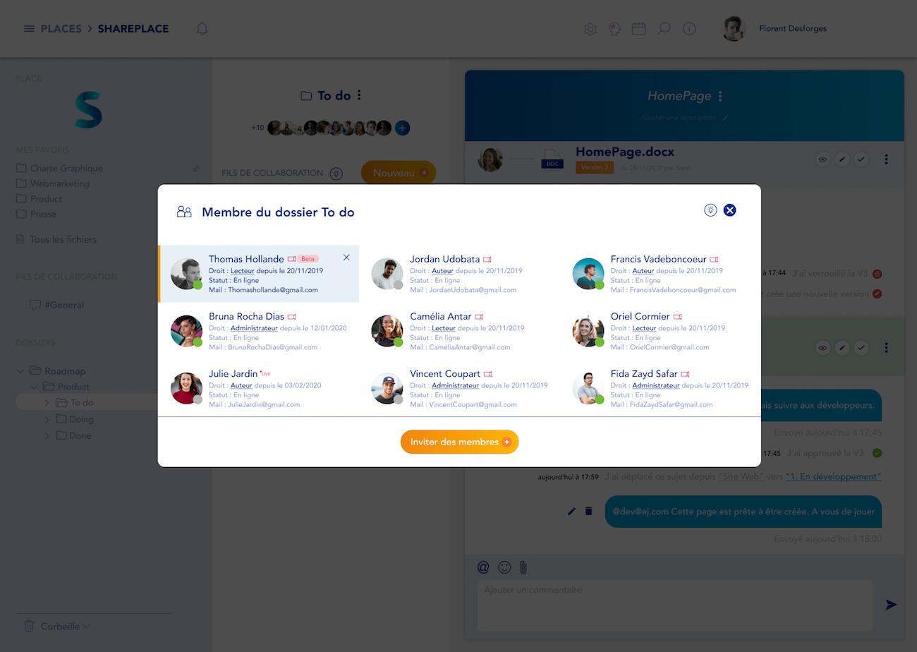Gestion des membres et des droits utilisateurs sur chaque dossier dans SharePlace