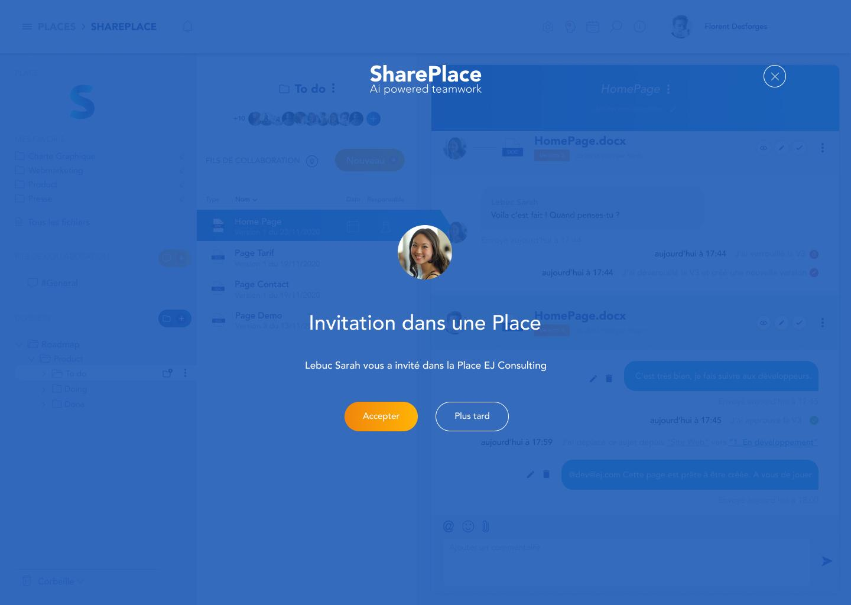 Invitation dans un espace de travail collaboratif de SharePlace