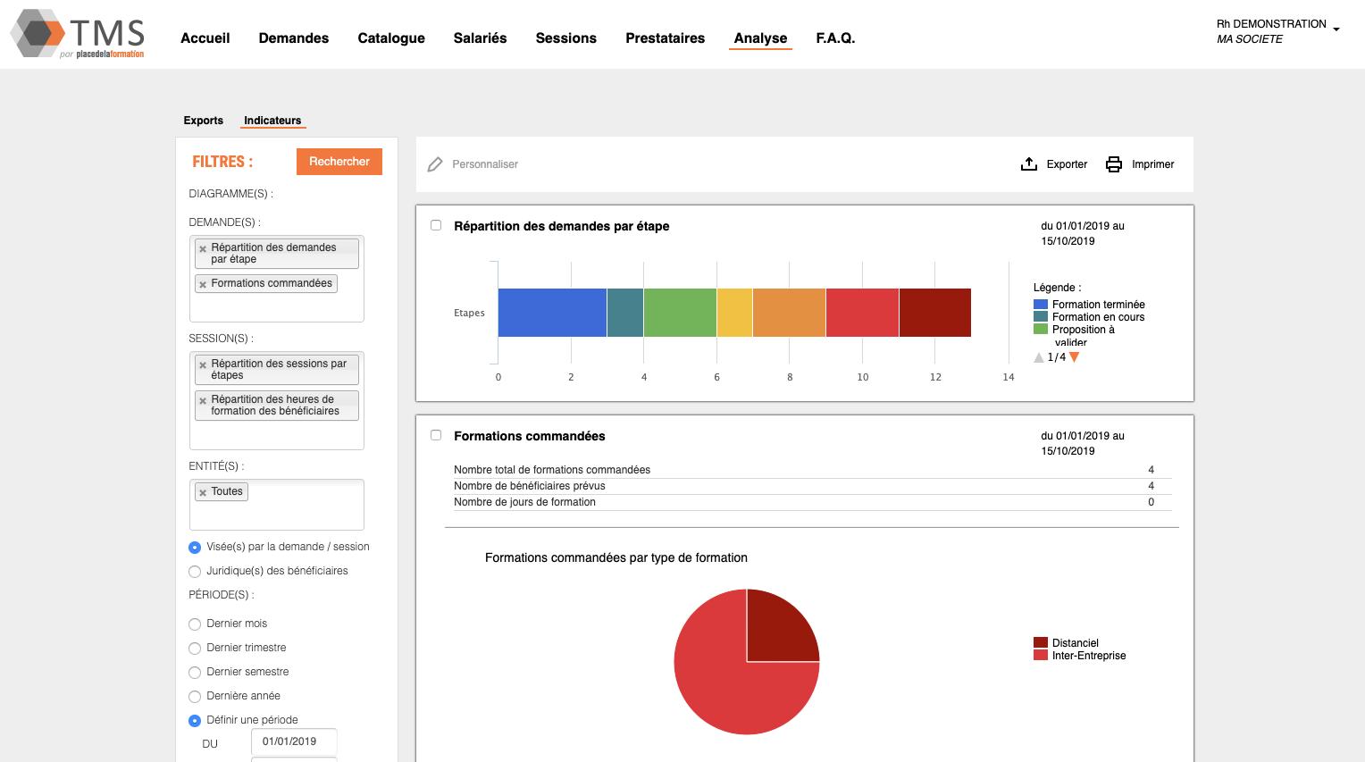 Indicateurs graphiques en temps réel, sans ressaisie / exports de données