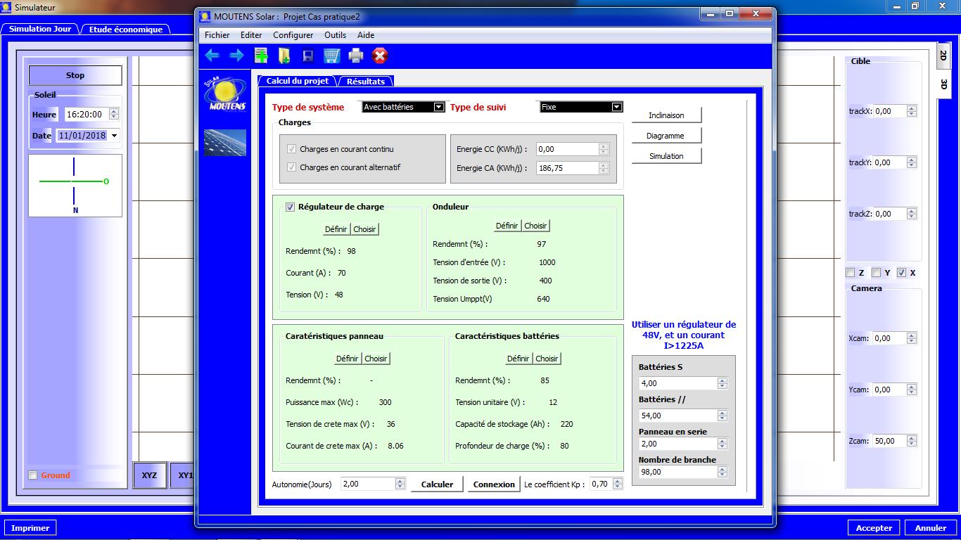 Interface d'étude électricité PV