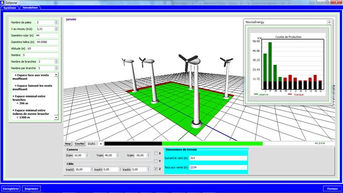 interface de simulation éolienne en 3D