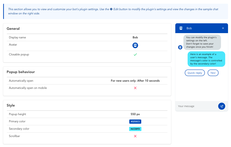 Configuration du plug-in LiveChat