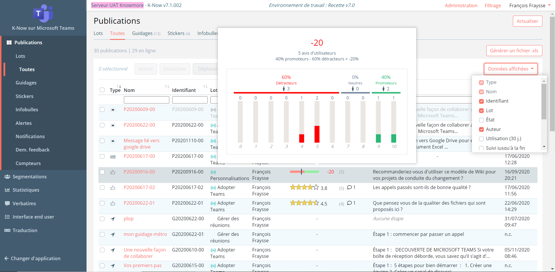 Analyse des feedbacks NPS des utilisateurs