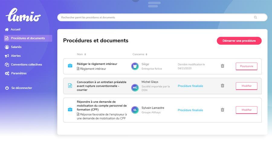 Procédures et documents en cours