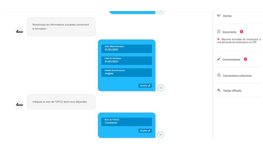 Formulaire de personnalisation d'un document