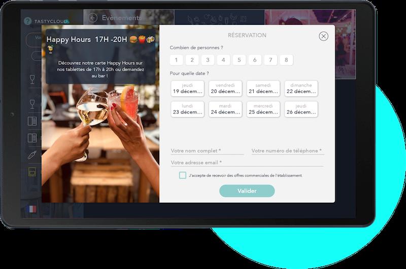 Module de communication - Promouvez vos évènements et permettez de réserver directement depuis la tablette