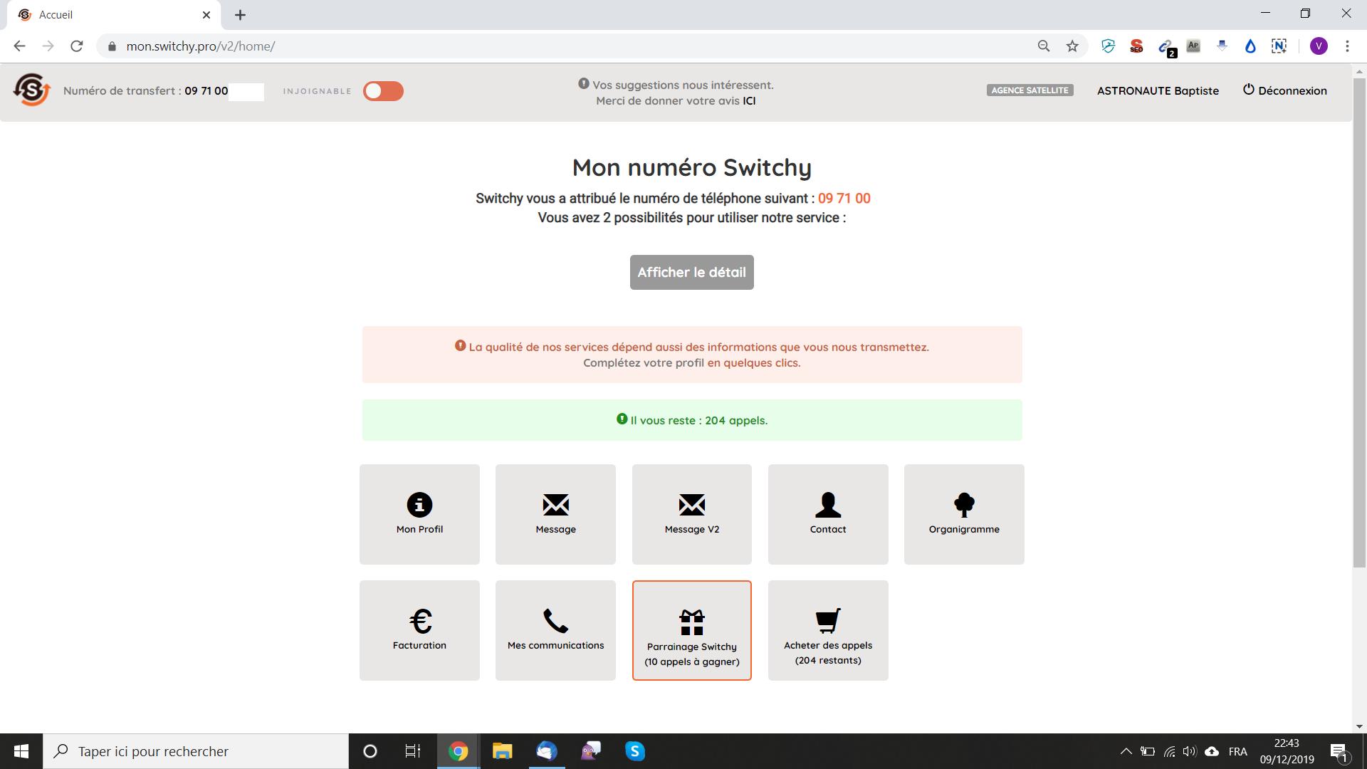 Dashboard accessible 24/7 : Profil, organigramme, messages et rechargement en ligne